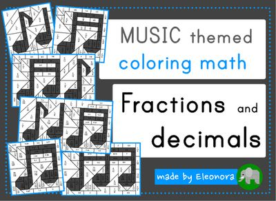 Music themed coloring math - fractions and decimals - different levels from Eleonora on TeachersNotebook.com (15 pages)