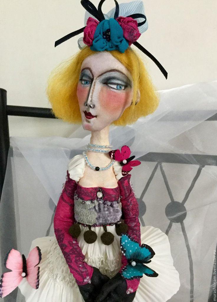 Купить БАБОЧКИ ФРАНЦИИ. Интерьерная текстильная кукла. - фуксия, коллекционная кукла, авторская кукла
