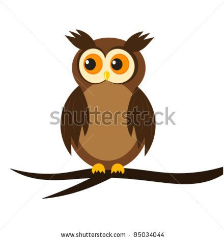 stock vector : Cartoon owl sitting on tree branch. Vector ...