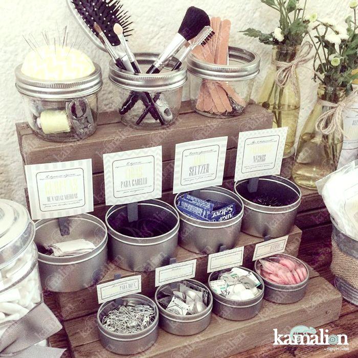 www.kamalion.com.mx - Decoración / Kit de baño / Amarillo & Gris / Yellow & Gray / Vintage / Rustic Decor / Wedding / Boda / Bathroom kit / Costurero / detalles / Curitas / Ligas / Limas / Medicinas / Bathroom / Favors.
