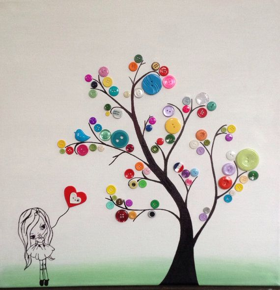 Items similar to Handmade button tree and little girl 45x45cm painting / picture on Etsy
