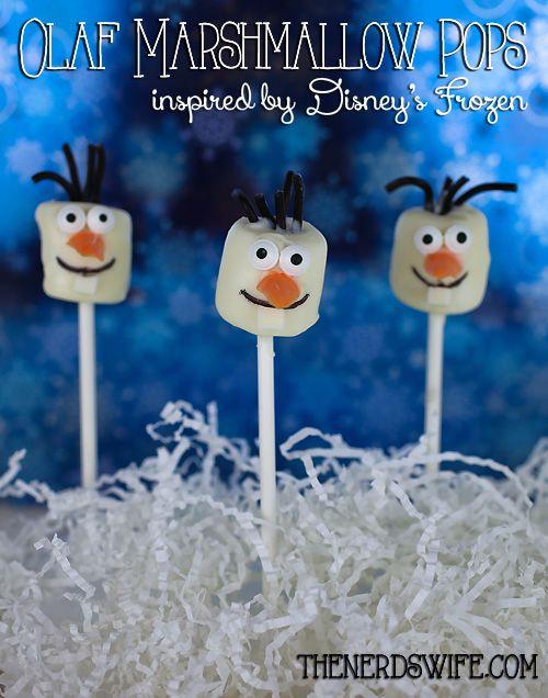 Olaf Marshmallow Pops Inspired by the lovable snowman in Disney's Frozen #DisneyFrozen