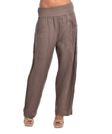 Look at this #zulilyfind! Taupe Anna Linen Pants by Couleur Lin #zulilyfinds