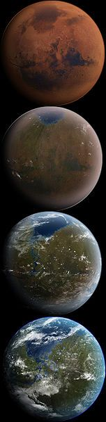 Artist's conception of the process of terraforming Mars.