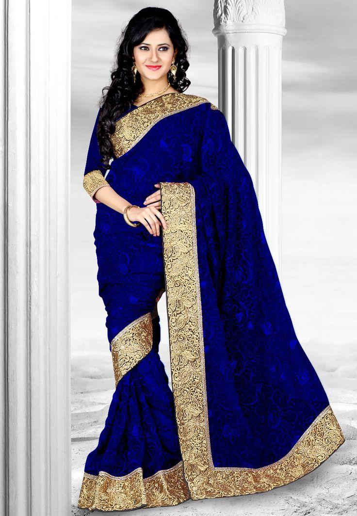 #Blue Net #Saree @ $126.00