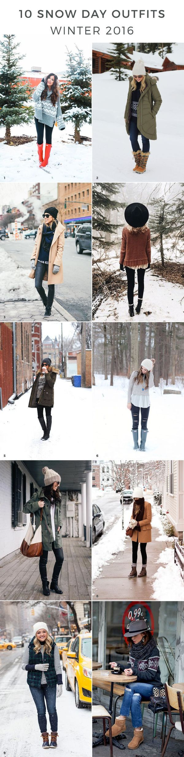 Looking for a cute snowday outfit to stroll around town in? Here are 10 winter outfits for snow to try out. You can go wrong with an oversized sweaters, tall boots, and a cute hat!