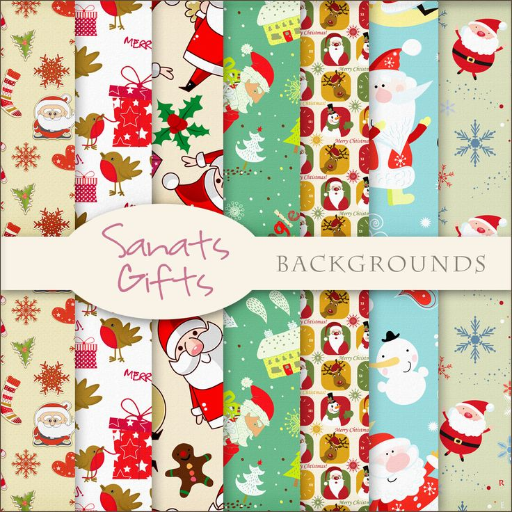 Free Santa's Gifts Digital Papers from Scrapdot