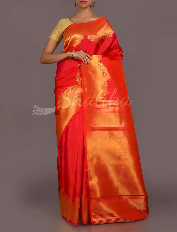 Srilalitha Swaying Golden Leaves Real Zari #DharmavaramSilkSaree