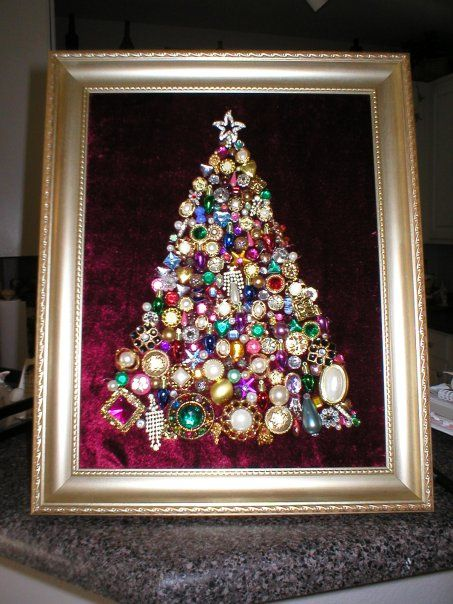 Christmas tree - buttons, old jewelry, rhinestones and anything that sparkles!