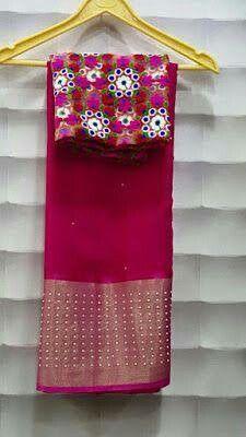 Gujari work blouse with chiffon sari