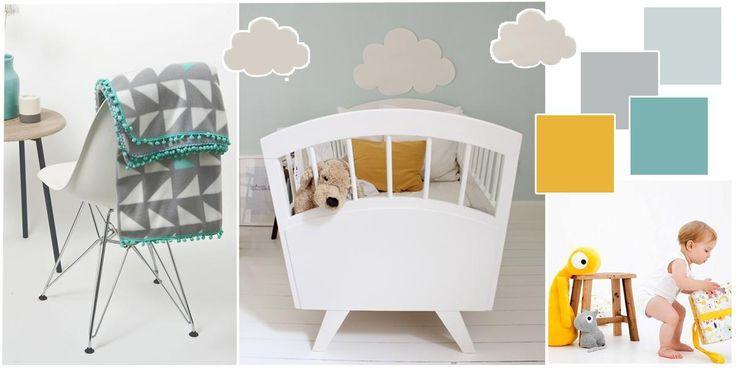 Babykamer ideeën; mijn moodboard voor het inrichten van de babykamer - Makeithome.nl Welke kleur kies je als je niet van roze houdt, wij gaan voor grijs, licht blauw en accent kleur geel en zeeblauw.