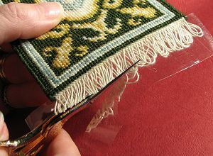 How to add fringe to handmade dollhouse rug.