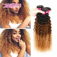 3 Tone Prom Queen Hair Products 3Pcs 6A Peruvian Virgin Hair Deep Wave Human Hair Weaves Bundles Kinky Curly Peruvian Human Hair
