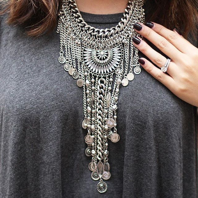 Boho bohemian statement necklace silvernecklace glam fashion style statementnecklace 24 Bohemian fashion style pinterest