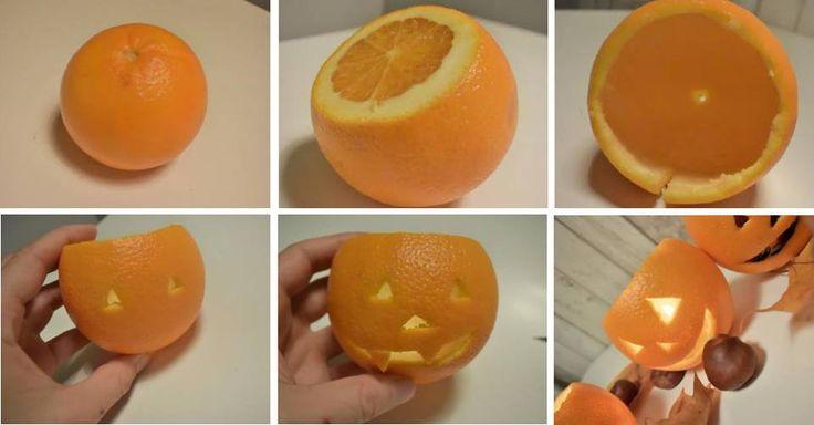 MINILYKTER: Istedenfor å skjære ut store gresskar kan du gjøre det samme med appelsiner, og fylle dem med et lys, frukt eller godteri.