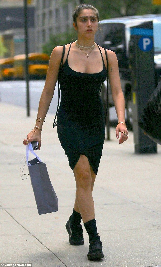 Not much Material, girl! Madonna daughter Lourdes Leon rocks slinky spaghetti strap LBD out in Manhattan