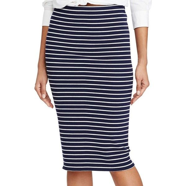 Polo Ralph Lauren Striped Rib-Knit Pencil Skirt ($125) ❤ liked on Polyvore featuring skirts, navy, striped skirts, navy skirts, stripe pencil skirt, elastic waist skirt and striped pencil skirt
