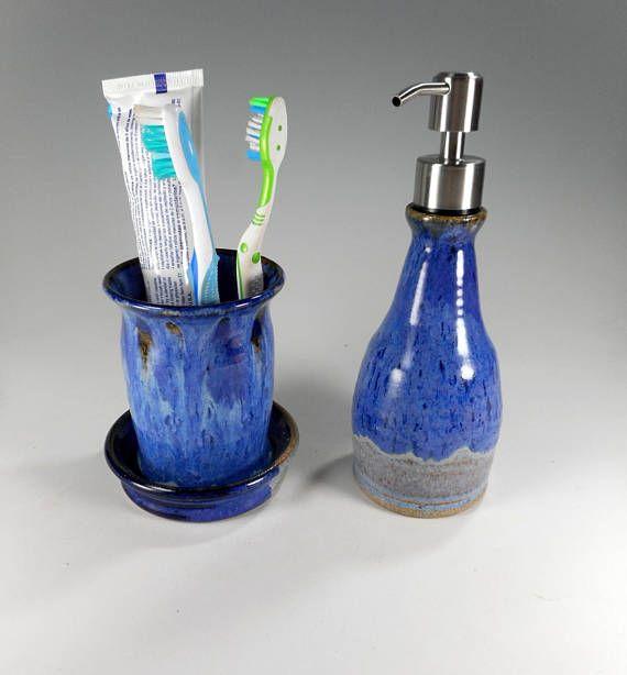 Pottery toothbrush holder ceramic soap dispenser stoneware