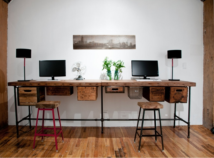 """Reclaimed wood desk with steel pipe legs and 2 drawers included, 48"""" x 26"""" x 30"""" h, 1.65"""" top. $795.00, via Etsy."""