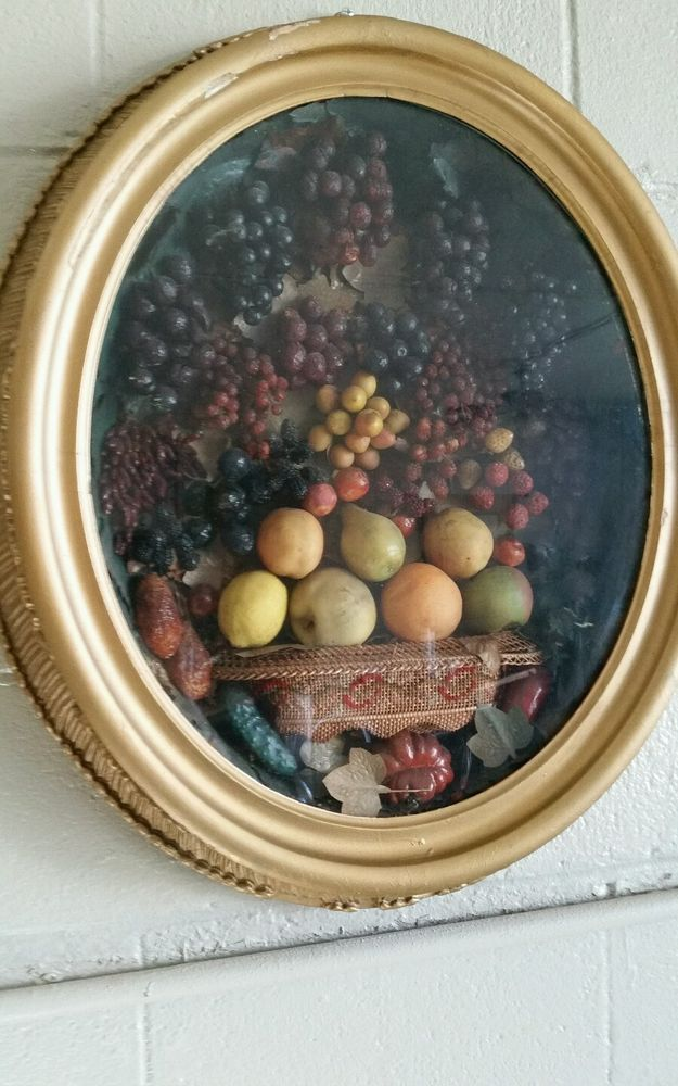 Antique diorama wax fruit oval shadow box