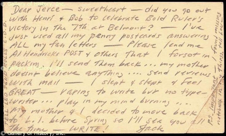 Kerouac letter to Joyce Johnson