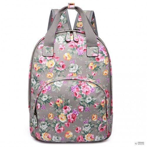9200  Miss Lulu London LG1658-Miss LuLu virágos Print több zseb     táska  hátizsák táska szürke