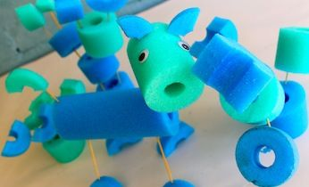 Make these super-easy pool noodle sculptures - no glue required!