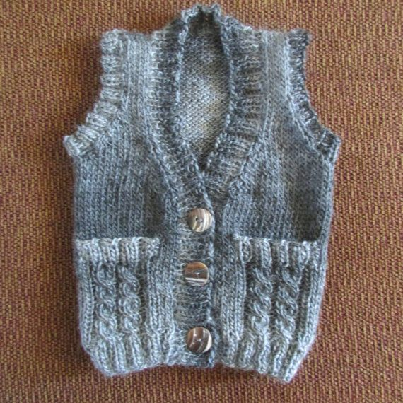 Hand knit Vest made with acrylic yarn and three by CashewCashew