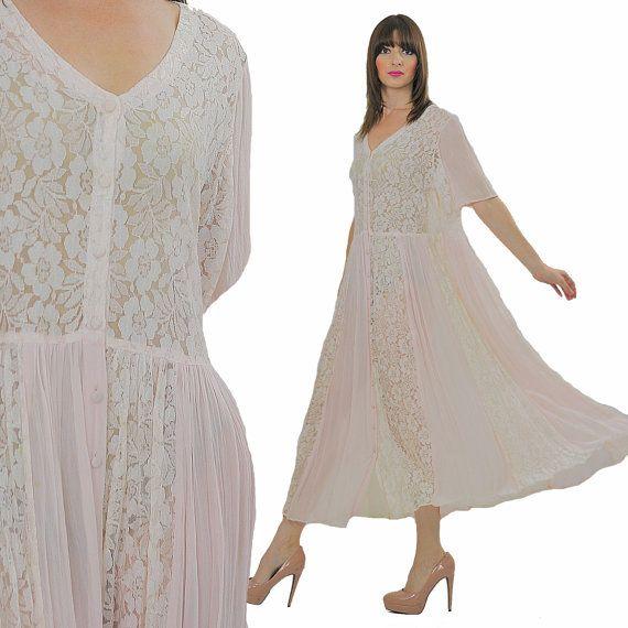 Vintage Wedding Dress 90s: 90s Grunge Dress Boho Dress Sheer Lace Dress Boho Bridal