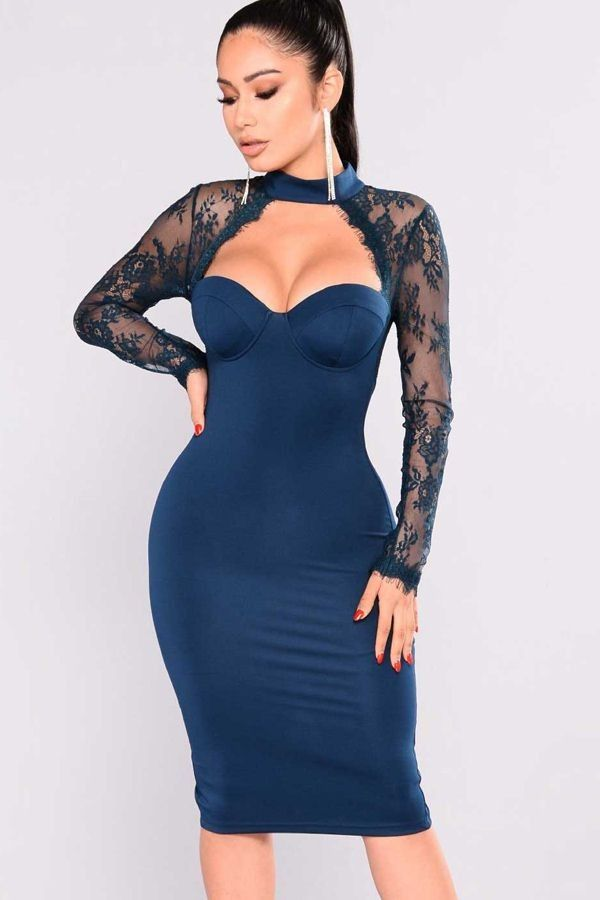d58370c470 Dark Blue Floral Pattern Lace Mesh Cutout Long Sleeve Sexy Bodycon Party  Dress  040934   Long Sleeve Dresses