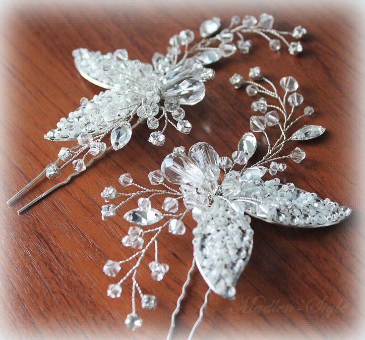 """Купить Шпилька """"Листики"""" - белый, шпилька для волос, свадебная шпилька, свадебное украшение, украшение для прически"""