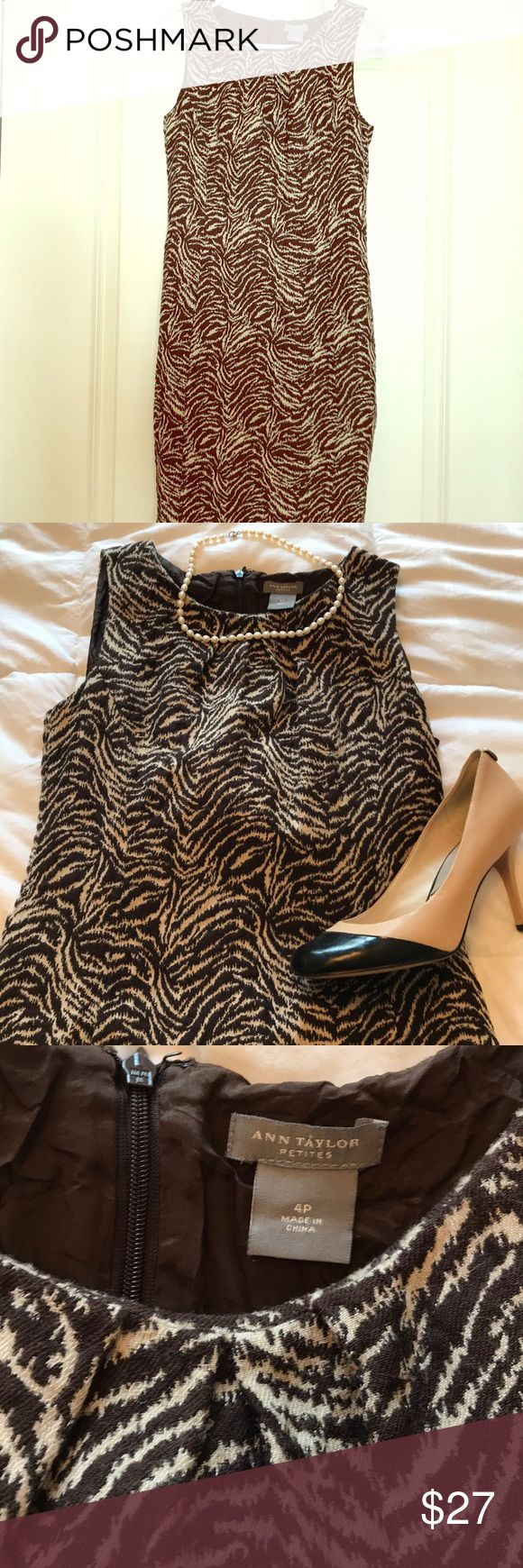 Animal print dress Ann Taylor brown Animal petite dress. Great condition! Ann Taylor Dresses