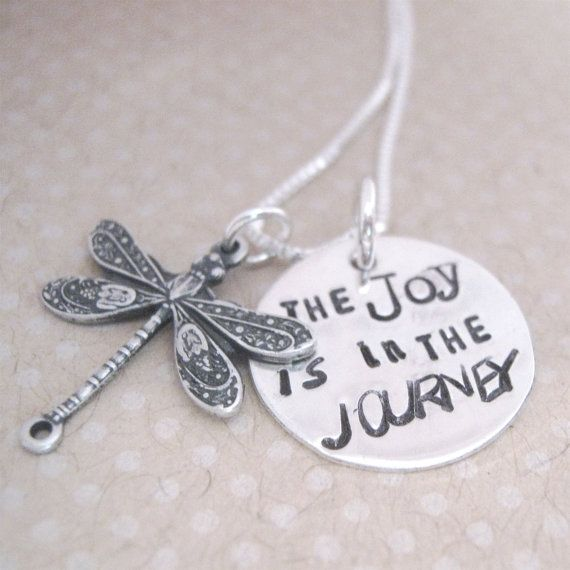 Joy Necklace - Hand stamped necklace - Inspirational Necklace - Dragonfly jewelry