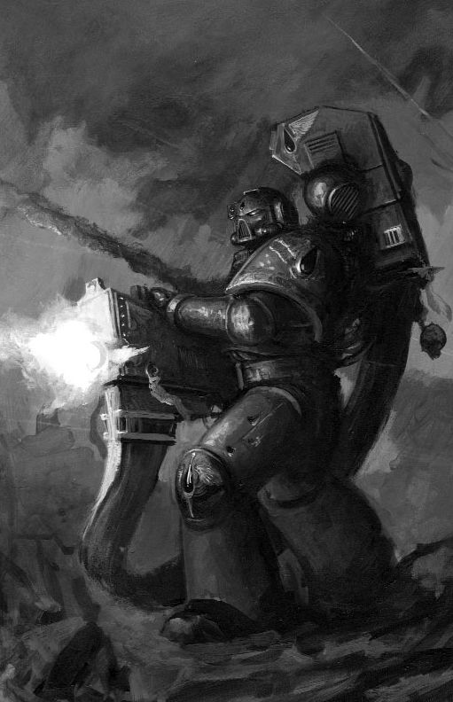 Artwork from the official Games Workshop Space Marine codex, depicting a Blood Angels Devastator marine laying down fire upon an offscreen target. i like the use of monochrome colouring as it brings out the light that is generated by the heavy bolter as it fires and also it shows off the smoke and bullet trails from what seems to be an ongoing firefight.I like the idea of a boss using a heavy repeater weapon, with the fight are being full of cover a player would need to use to stay alive.