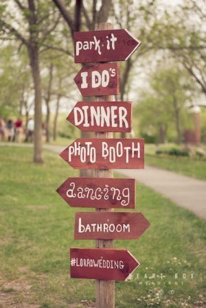 DIY Wedding Sign with directions — good idea for your reception
