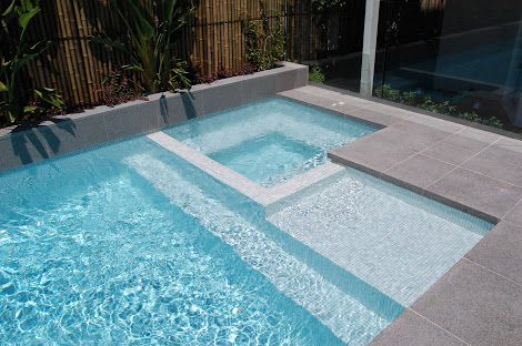 Love these modern, square pools with the spa in the same enclosure