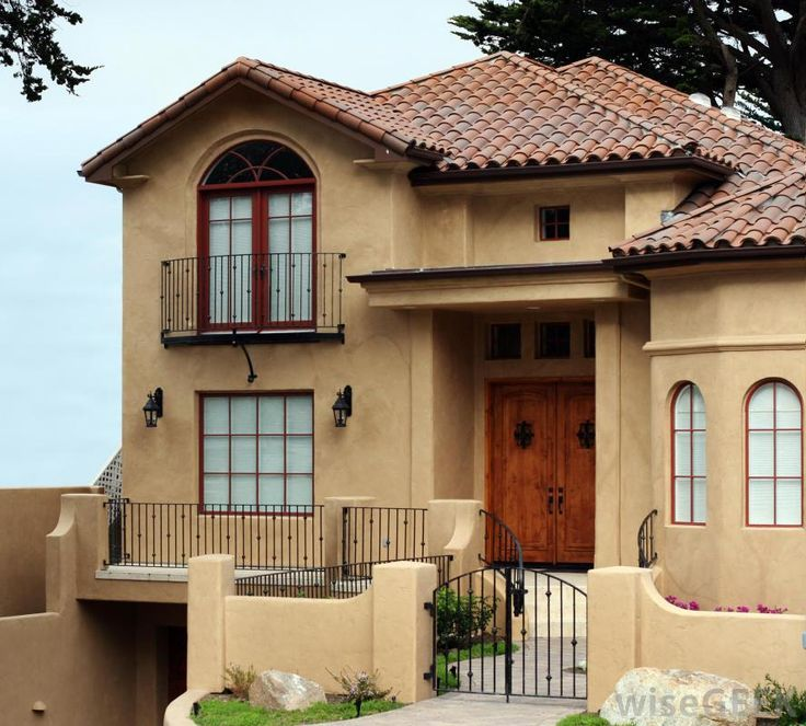 30 best exterior paint colors for brown roof images on for Stucco colors for houses exterior