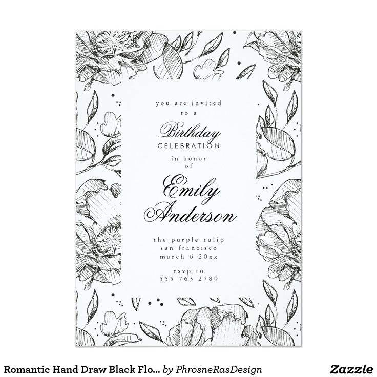 Romantic Hand Draw Black Floral Elegant Invitation #zazzle #invitation #stationery #tabletop #flowers #floral #organic #original #illustration #designer #suite #elegant #stylish #phrosneras #phrosnerasdesign #calligraphy