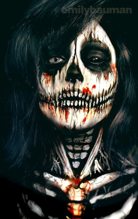 skeleton face painting by emily bauman skullspirationcom skull designs art - Halloween Skull Face Paint Ideas