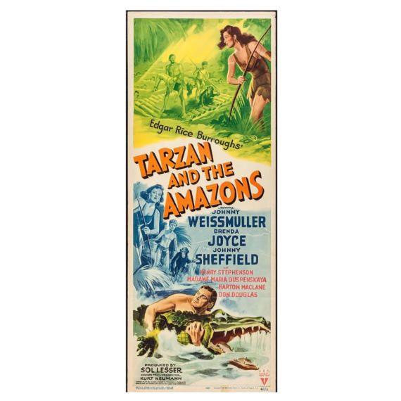 Tarzan And the Amazons RKO 1945 movie poster. Original