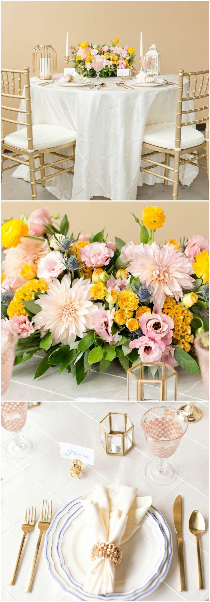 Gold wedding design, chiavari chairs, gold coral napkin ring, pink dahlia & orange ranunculus floral centerpiece, updated chic // Erica and Jon Photography