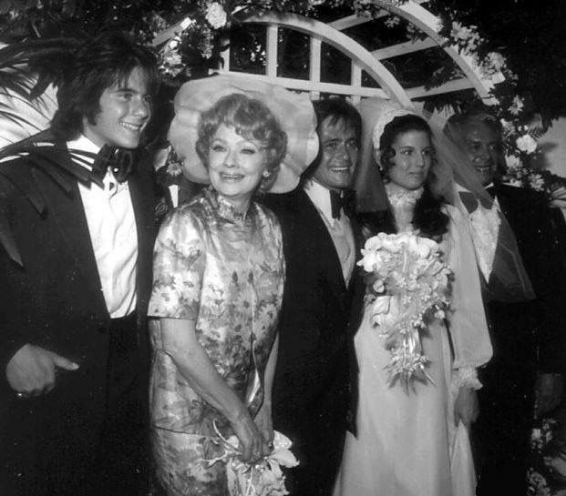 Lucy and Desi and Desi Jr. at Lucie's wedding to Phil Vandervort.