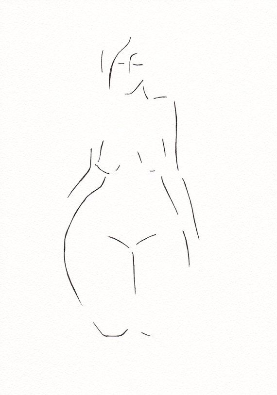 Minimalist black and white nude figure drwing by siret roots. #nude #illustration #woman #inkdrawing