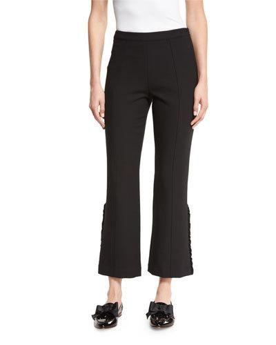 ELIZABETH AND JAMES Onyx Ruffle-Trim Flared Cropped Pants, Black. #elizabethandjames #cloth #