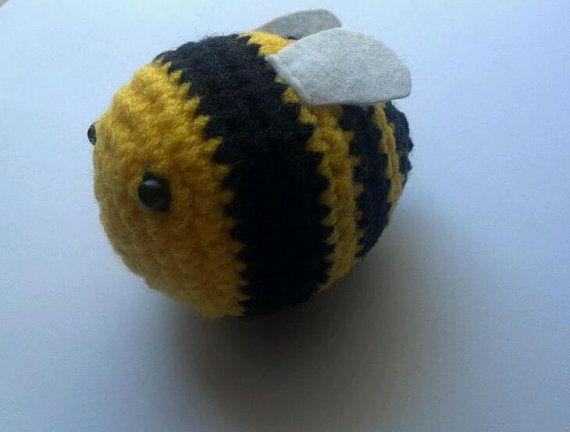 Summer SALE Crochet Handmade Bumble Bee toy Buzz Bee by Qspring, $4.85