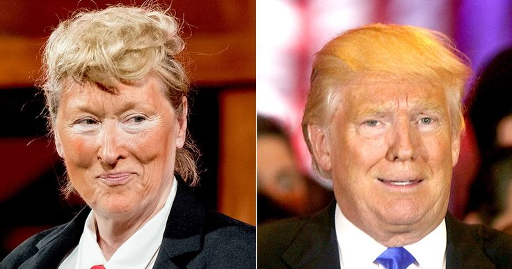 Meryl Streep dressed up as Donald Trump, complete with orange face, at an NYC gala — see the photo