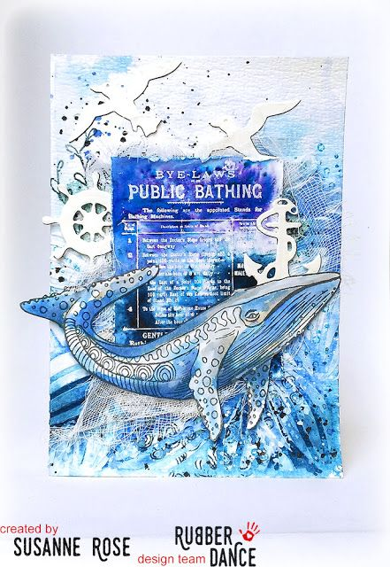 Susanne Rose Designs: New Stamps and Sale over at Rubber Dance. Whale greeing card with lots of texture and Brushos