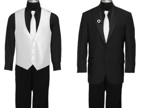 black shirt and pants with white tie and vest for Luke :) Thanks to Tiff and Kim I am doing this :)