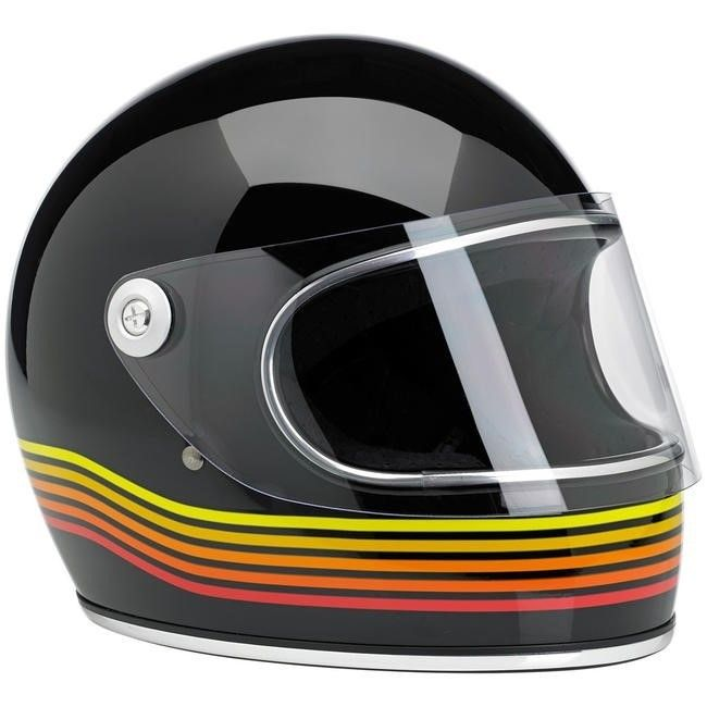 BILTWELL Gringo-S Spectrum in gloss-black & orange. Helmet comes with a clear flat visor. DOT rated.