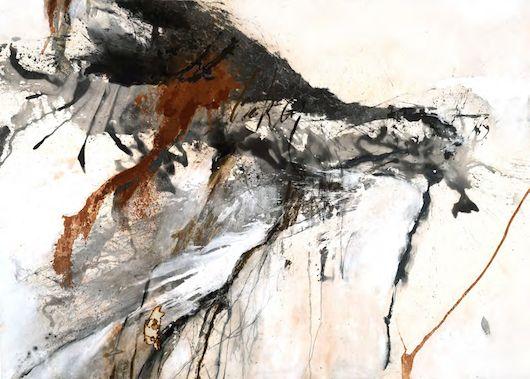 Sophie Cape: confronting the precipice 2014 - ink, acrylic, oil, graphite on canvas